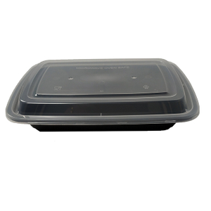 28oz 1 Compartment Black Plastic Food Container with Lid