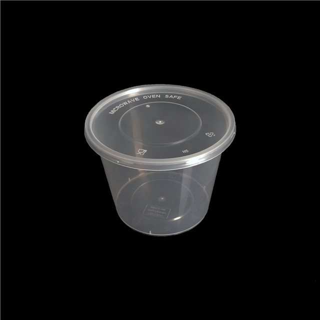 20oz/560ml single use food grade plastic one time food containers round disposable lunch bento box with lid